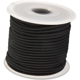 Koordelastiek 3 mm Zwart