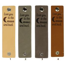 Durable Rechthoekige leren labels met drukknoop van 12 x 3 cm - Love you to the moon per 2 stuks