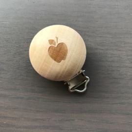 Houten speenclip houtkleurig blank met appel