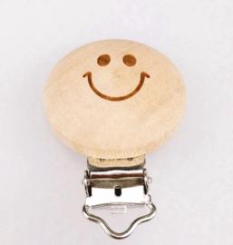 Houten speenclip houtkleurig blank met smiley