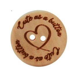 Durable houten knopen: Cute as a button 25mm -3 stuks-