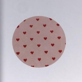 Kadosticker Rose en rode hartjes  10 st