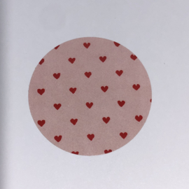 Kadosticker Rose en rode hartjes  10 stuks