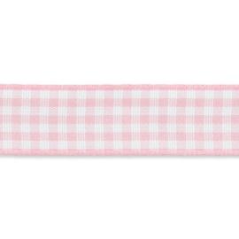 Geruit lint - vicky 10mm Licht roze