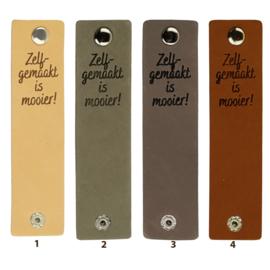 Durable Rechthoekige leren labels met drukknoop van 12 x 3 cm - Zelf gemaakt is mooier per 2 stuks