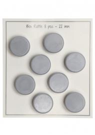 Go Handmade Rammeldoosjes - rammelschijfjes grijs 22 mm - 8 stuks
