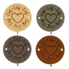 Durable Leren labels rond 3,5cm - Lief per 2 stuks