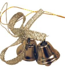 Kerstbelletjes aan koord  - zilverkleurig - met strik