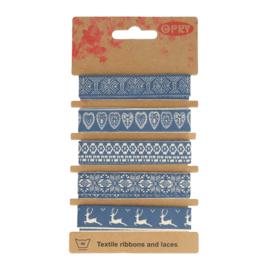 Opry Band 15mm Blauw -  Winter 5 x 1meter