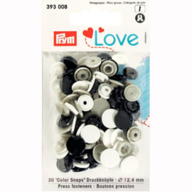 Color snaps -  Prym Love color rond 12,4mm wit, zwart en grijs