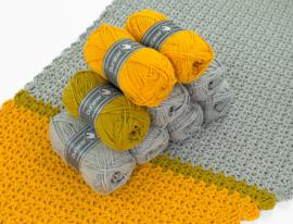 Garenpakket Shape of You omslagdoek grijs gele versie