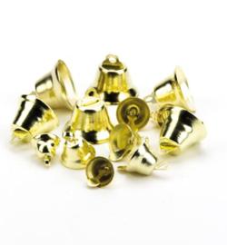 Set met kleine Kerstklokjes 10,12,15,18mm goudkleurig - ±140stuks