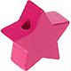 Houten kraal Mini-ster fuchsia effen ''babyproof''