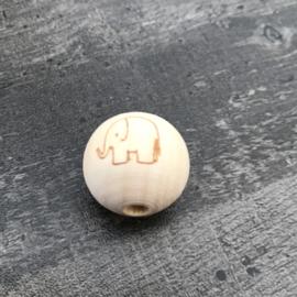 Houten kraal met Olifant boring horizontaal 20 mm