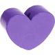 Houten kraal Mini-hart paars effen ''babyproof''