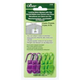 Clover   stitch markers, steekmarkeerders met clip