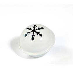 Kerstbel Wit snowflake 35mm - per stuk
