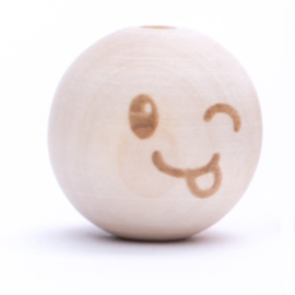 Houten kraal -Smiley Cute tongetje 20mm
