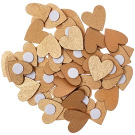 Rico houten hartjes Goud 20x20mm ±48stuks met plakrondje