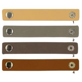 Durable leren label bandje met drukknoop van 10 x 1,5 cm - Blanco per 2 stuks