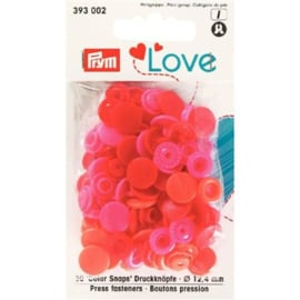 Color snaps -  Prym Love color rond 12,4mm rood, roze en coral