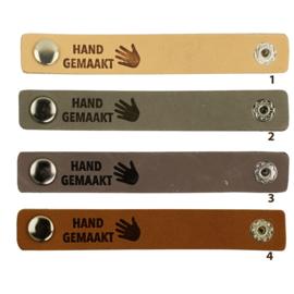 Durable leren label bandje met drukknoop van 10 x 1,5 cm - Hand gemaakt per 2 stuks