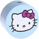 Houten kraal rond ''Hello Kitty'' babyblauw ''babyproof''