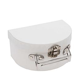 Halfrond koffertje klein - FSC recycled karton - wit