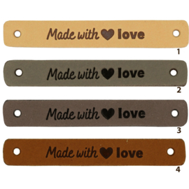 Durable leren aannaaibandje 7x1 cm - Made with Love per 2 stuks