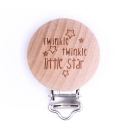 Houten speenclip houtkleurig blank met Twinkle Twinkle little star