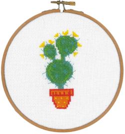 Telpatroon aida cactus met oranje pot