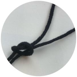 Zacht elastiek ZWART 3mm voor mondkapjes prijs per meter