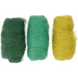 Gekaarde wol groen/limegeel