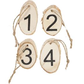 Houten schijfjes met advendcijfers 4 stuks
