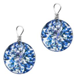 Bedel gedroogde bloempjes 12mm  Sapphire blue