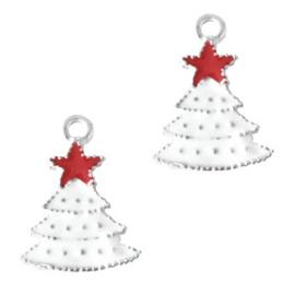 Bedel Kerstboom zilver - wit per stuk