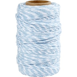 Gestreept katoen koord 1,1mm Blauw/wit