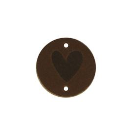 Leren label Round Hart 3cm Bruin
