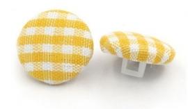 Knoopje met geblokt stofje 14 mm Geel