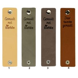 Durable Rechthoekige leren labels met drukknoop van 12 x 3 cm - Gemaakt met Liefde per 2 stuks