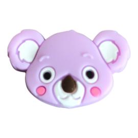 Siliconen kraal Koala hoofd - Lila