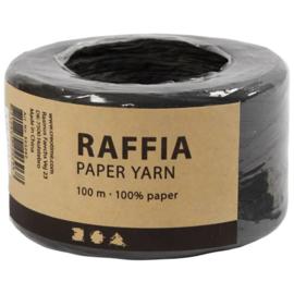 Papier Raffia garen - Zwart - 7-8mm