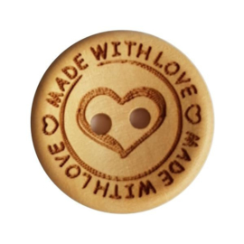 Durable houten knopen: Made with love ♥ 20mm -4 stuks-