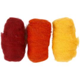 Gekaarde wol roodbruin-zacht oranje