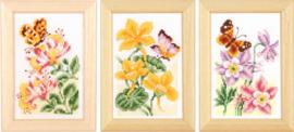 Bloemen en Vlinders  telpatroon aida set van 3 schilderijtjes
