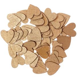 Rico houten hartjes Goud 20x20mm ±48stuks