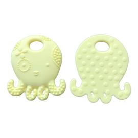 Siliconen bijtring - speenkoord ring Octopus - Inktvis  Lichtgeel