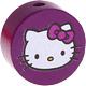 Houten kraal rond ''Hello Kitty'' paarsfuchsia ''babyproof''