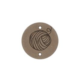 Leren label Round Wool 3cm Beige