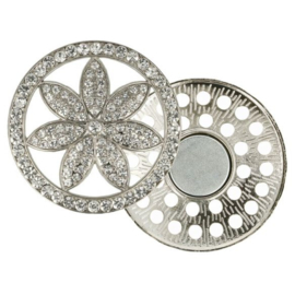 Magnetische Broche Bloem 45mm zilver